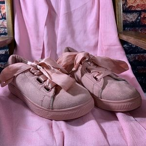 Wanted Pink Sneaker with Satin Ribbon